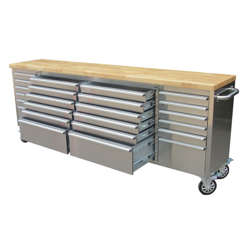 24 Drawer 8 Ft 96 Inch Stainless Tool Bench Htc9624w Uncle Wiener 39 S Wholesale