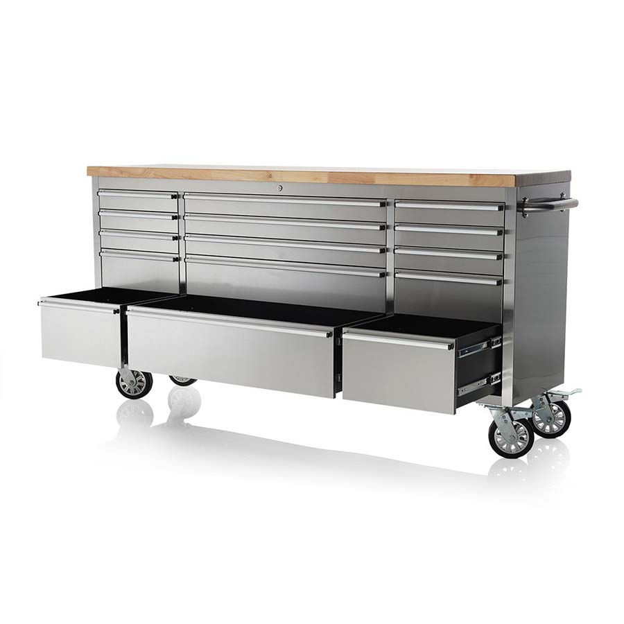 "72"" STAINLESS STEEL 15 DRAWER TOOL BENCH HTC7215W"