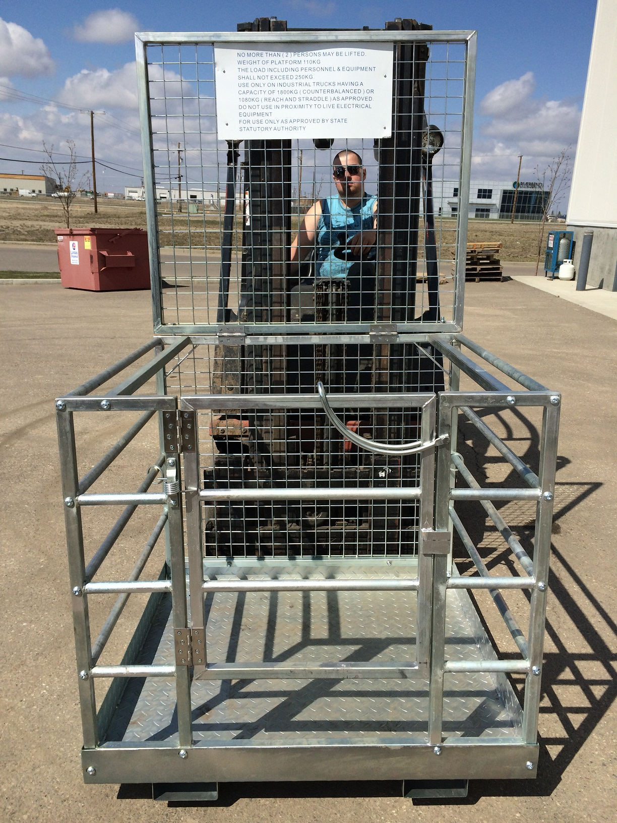 2 Person Forklift Safety Cage Work Platform Attachment