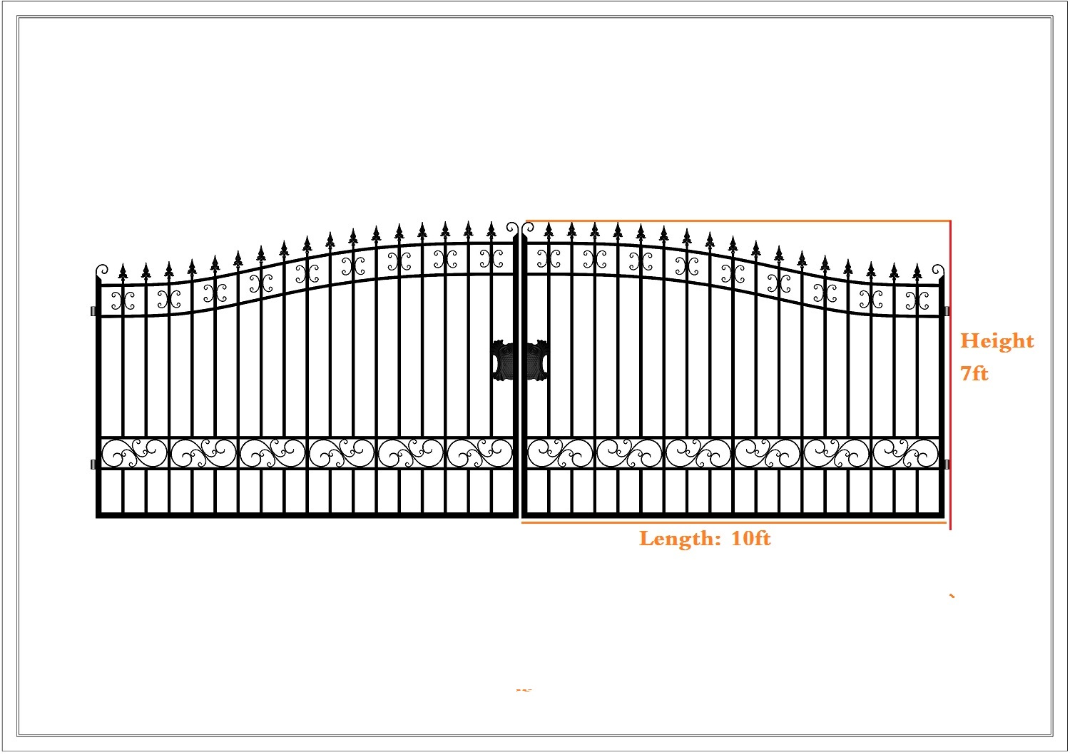 New Driveway Wrought Iron Ornamental Entrance Gate 20 Ft 14 Ft Uncle Wiener S Wholesale