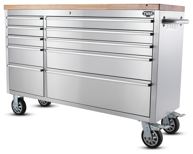 55 Inch Stainless Steel 10 Drawer Tool Bench Uncle