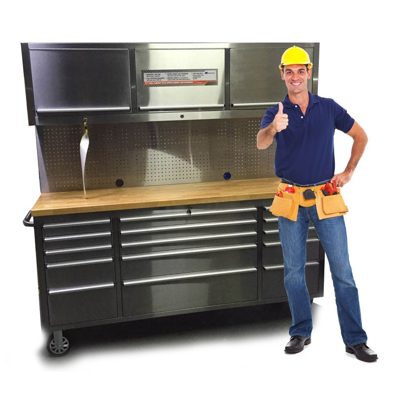 72 tool chest work station 18 drawer stainless steel for Bench tool system