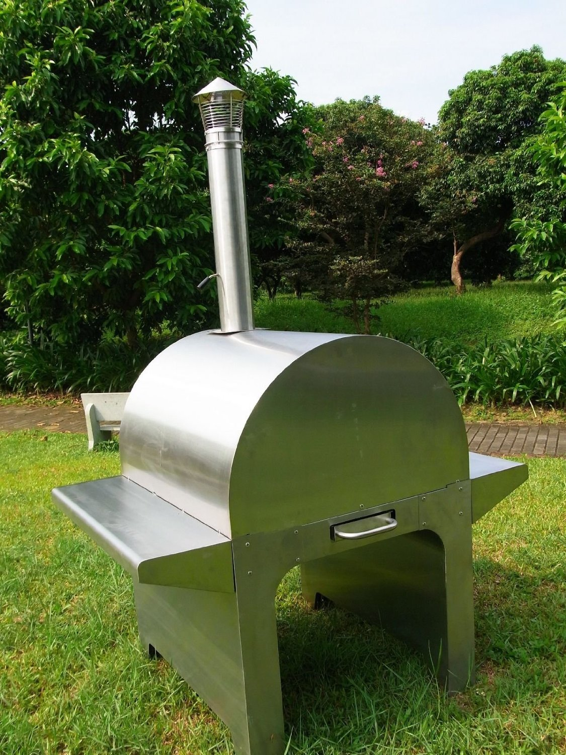 large deluxe wood fired stainless steel pizza oven hpo02s
