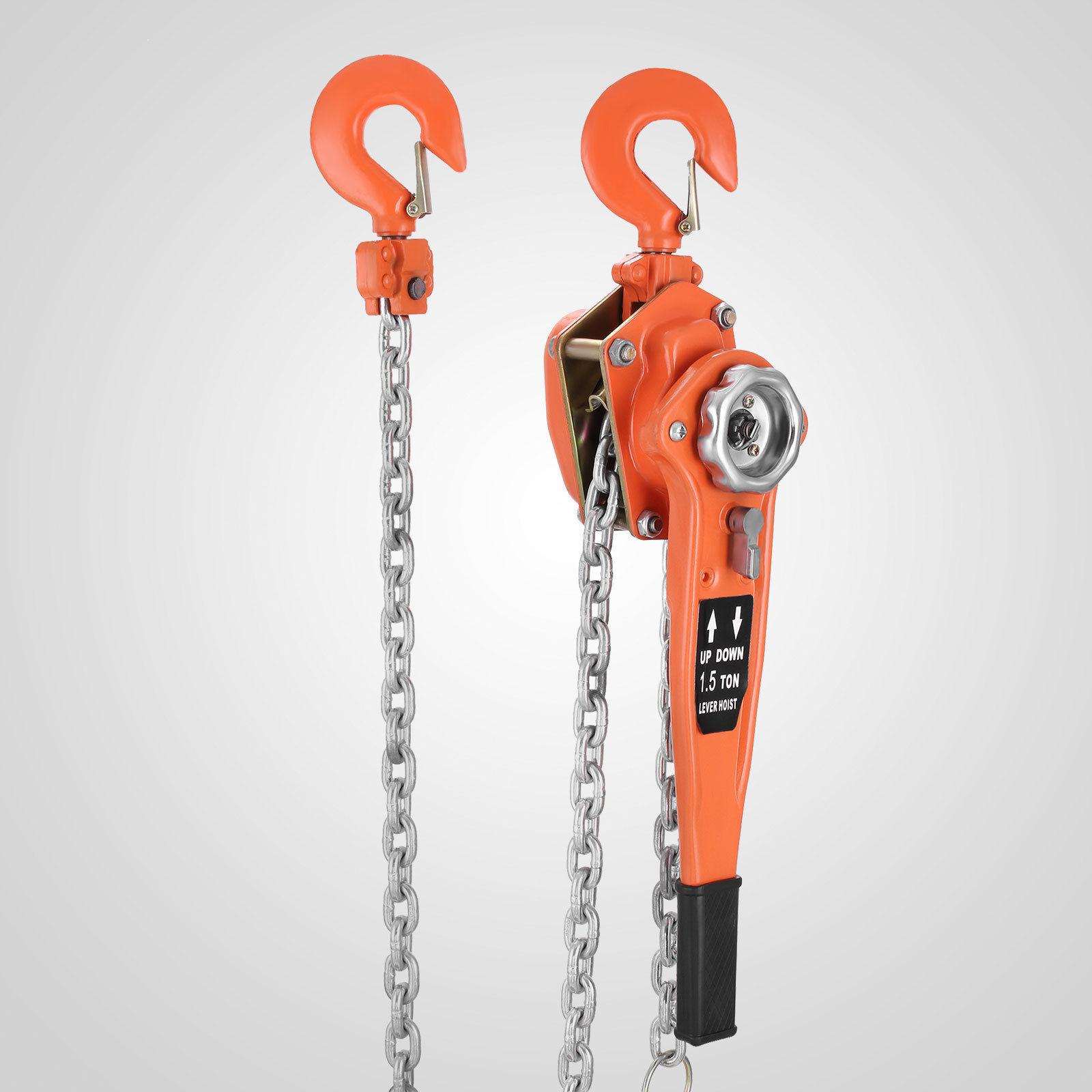 New 3000 Lbs Heavy Duty Come Along Chain Ratchet Hoist