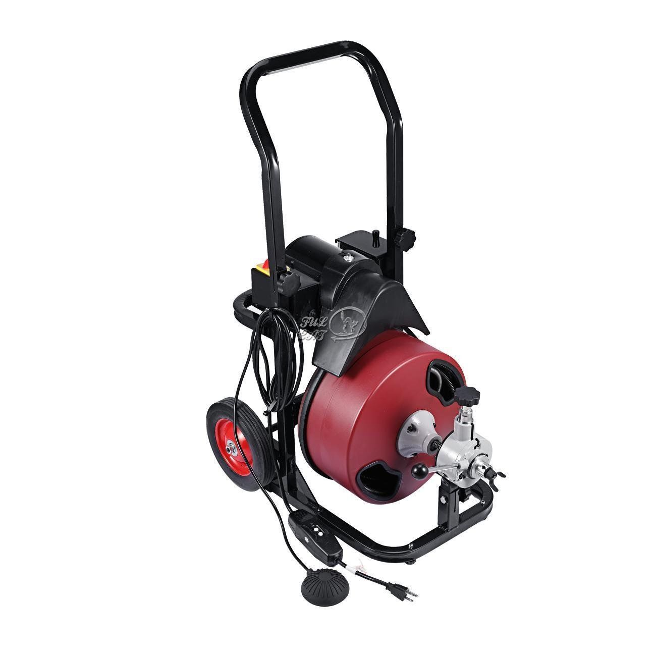 Portable 50 Ft Electric Drain Cleaner Sewer Snake W Cutter