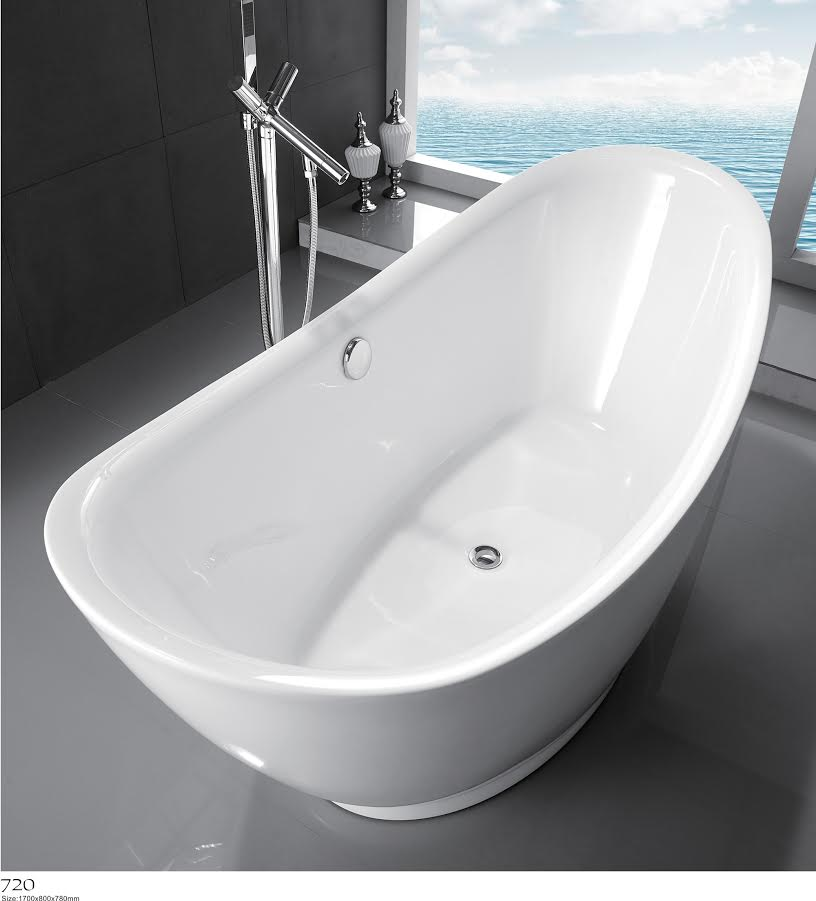 New free standing acrylic bathtub glossy white kf720 for Free standing bath tubs for sale