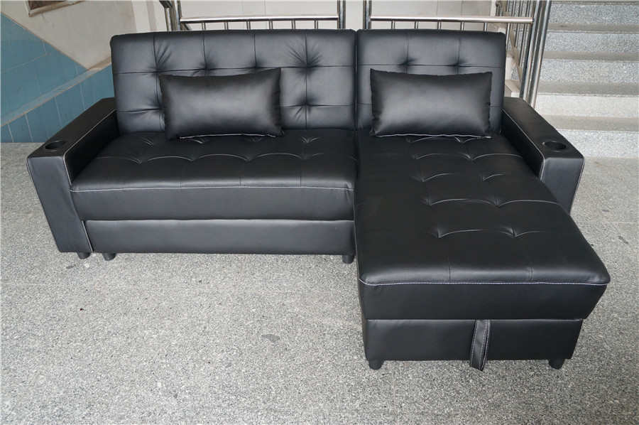 NEW 3in1 BLACK LEATHER OTTOMAN CHAISE SOFA BED YB2201