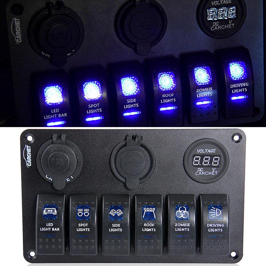 Rocker switch zombie lights led light bars amp off road lighting - 6 Gang Led Car Rocker Switch 2 Usb Sp019