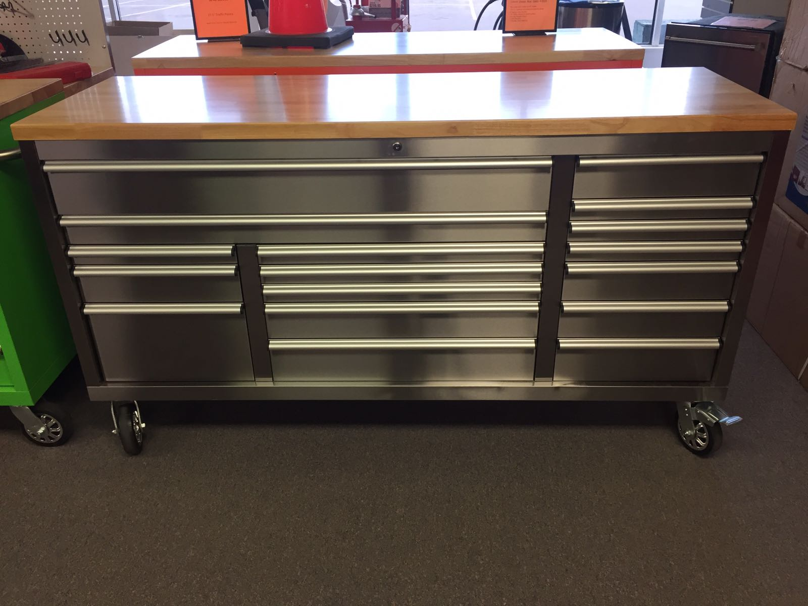 72 X 24 X 39 Fat Boy 17 Drawer Tool Benches Stainless Steel Series