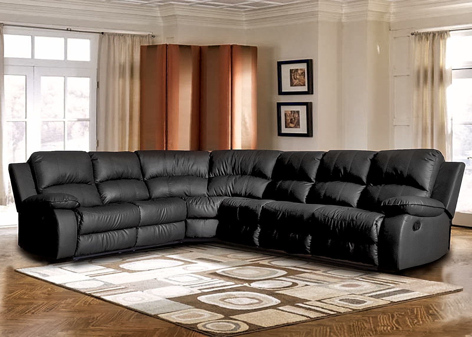 ON SALE ! SECTIONAL BLACK BONDED LEATHER SOFA SET $1195.00
