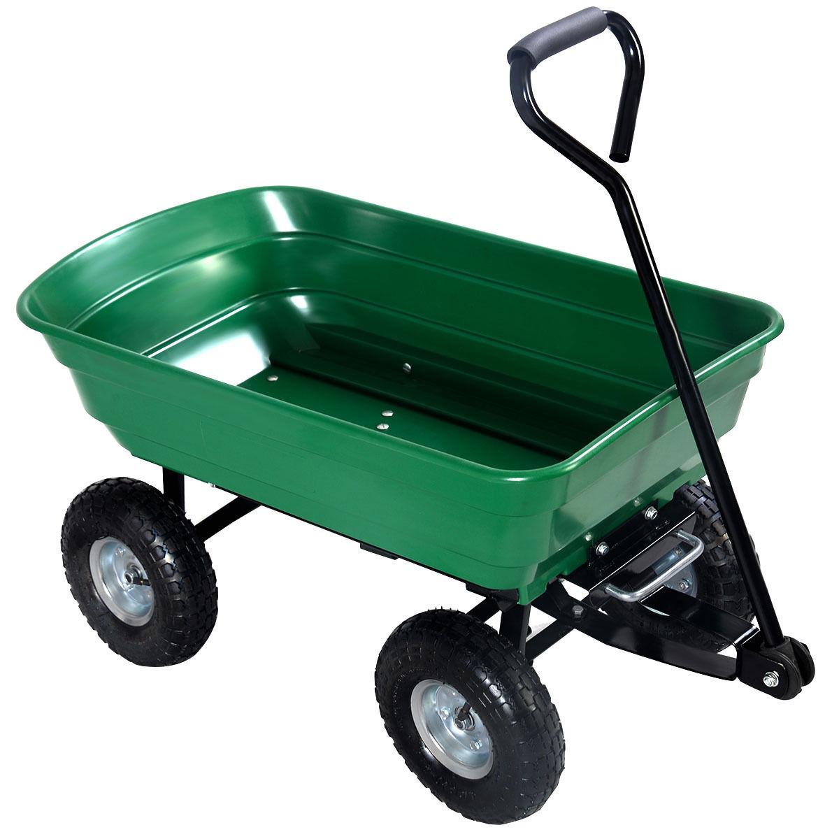 New 650 Lbs Garden Dump Cart Wagon Wheel Barrow Tc2145s