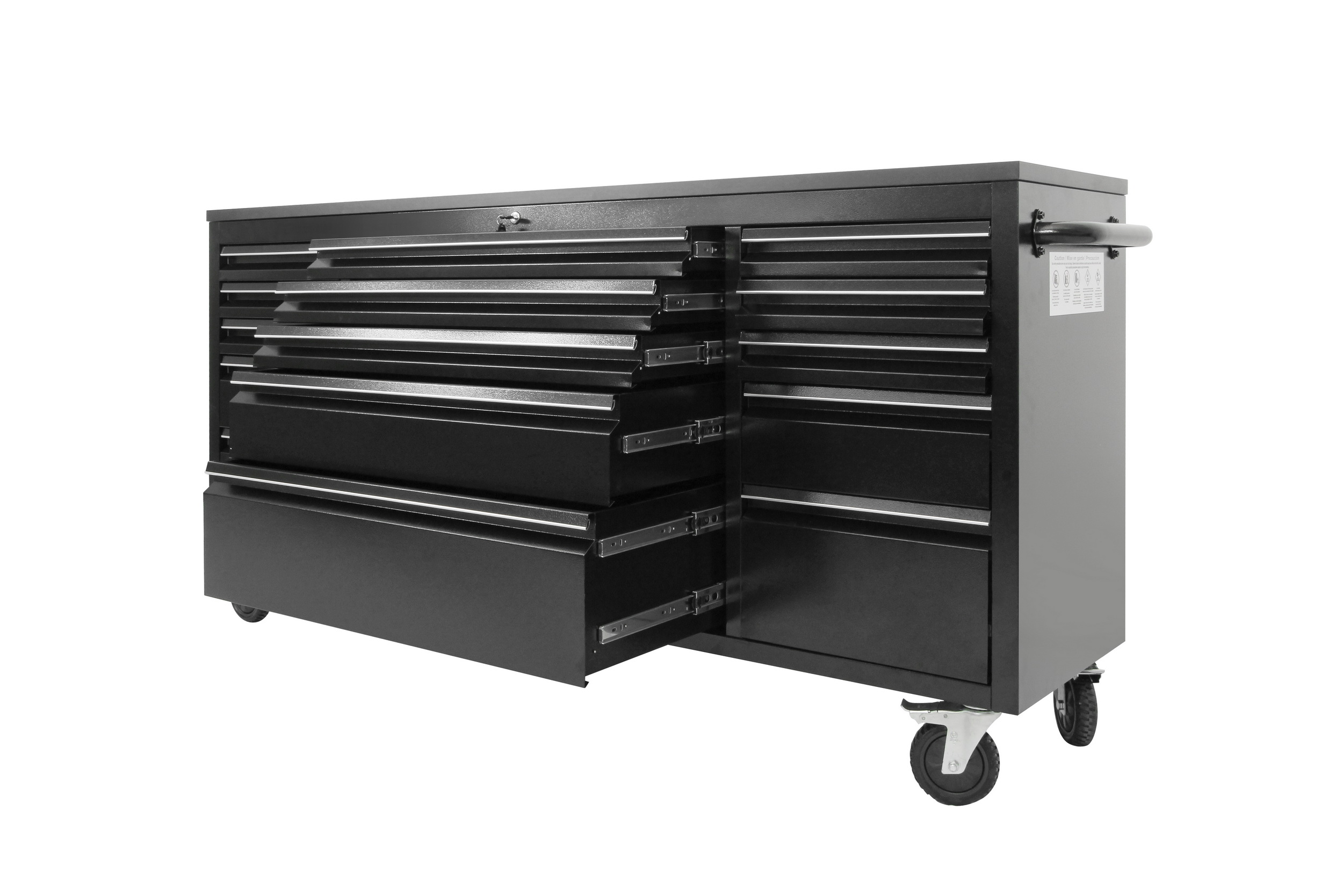 New 6 Ft 15 Drawer Black Workbench Tool Box 7215pc Uncle