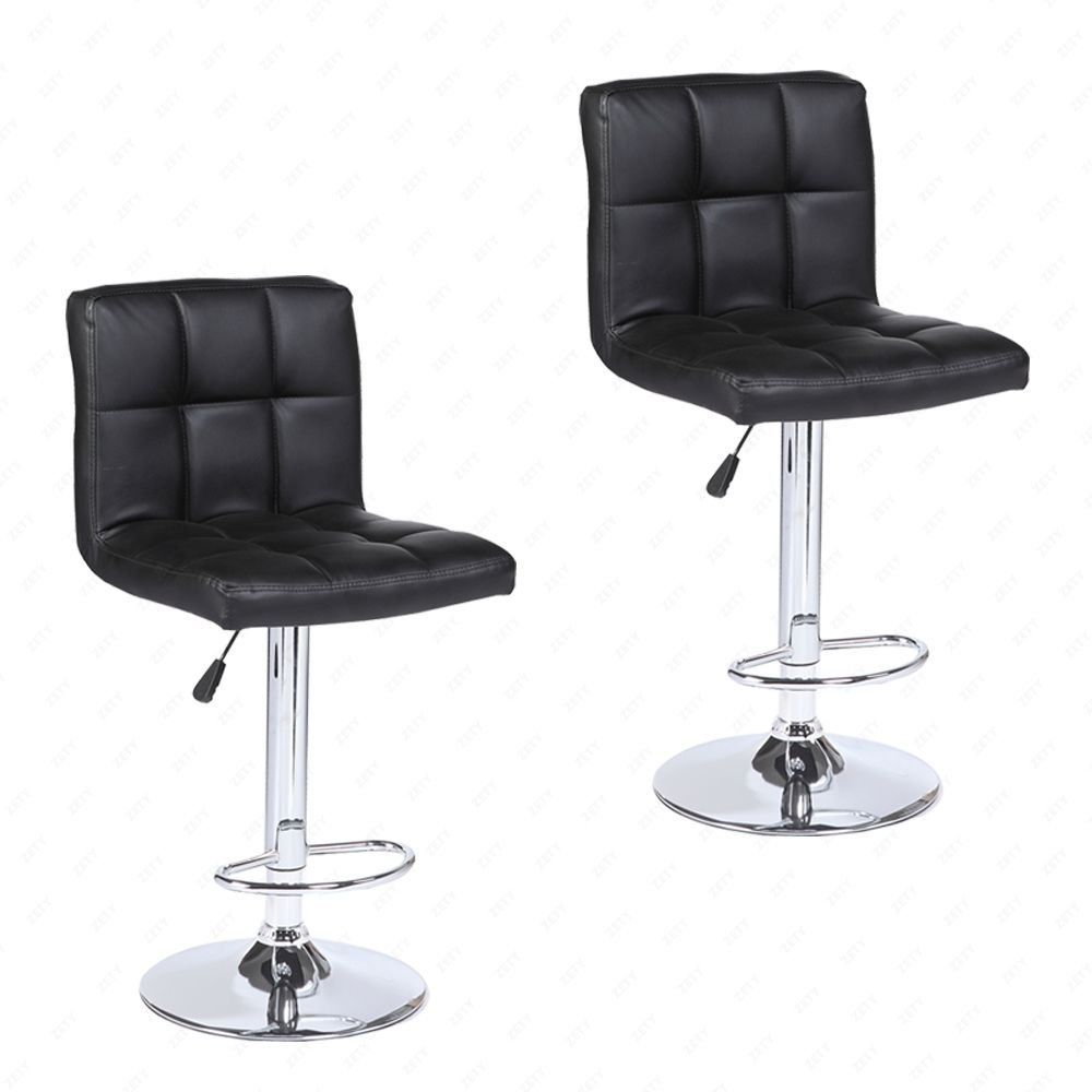 Pair Adjustable Seat Swivel Kitchen Chair