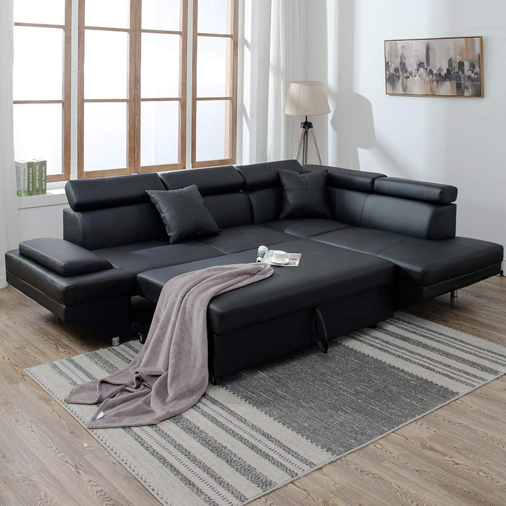 - NEW MODERN CONTEMPORARY LEATHER SECTIONAL CORNER SOFA BED U95R