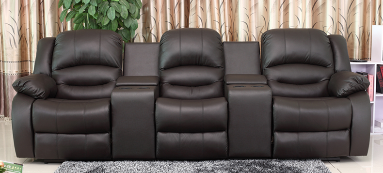 New 3 Seat Theater Seating Sofa W 2 X Recliner Seats Yrt5079 Black Bonded Leather