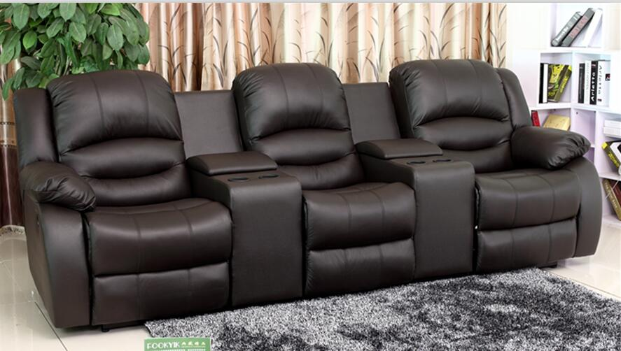NEW 3 SEAT THEATER SEATING SOFA W 2 X RECLINER SEATS YRT5079 BLACK BONDED  LEATHER THEATER SOFA