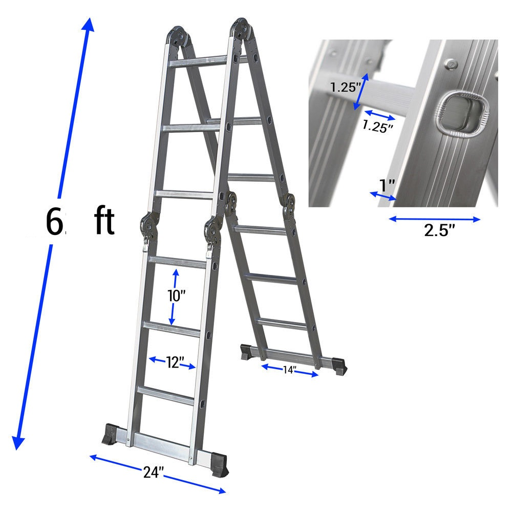 New Multipurpose 12 Ft Aluminum Ladder Ml103 Uncle