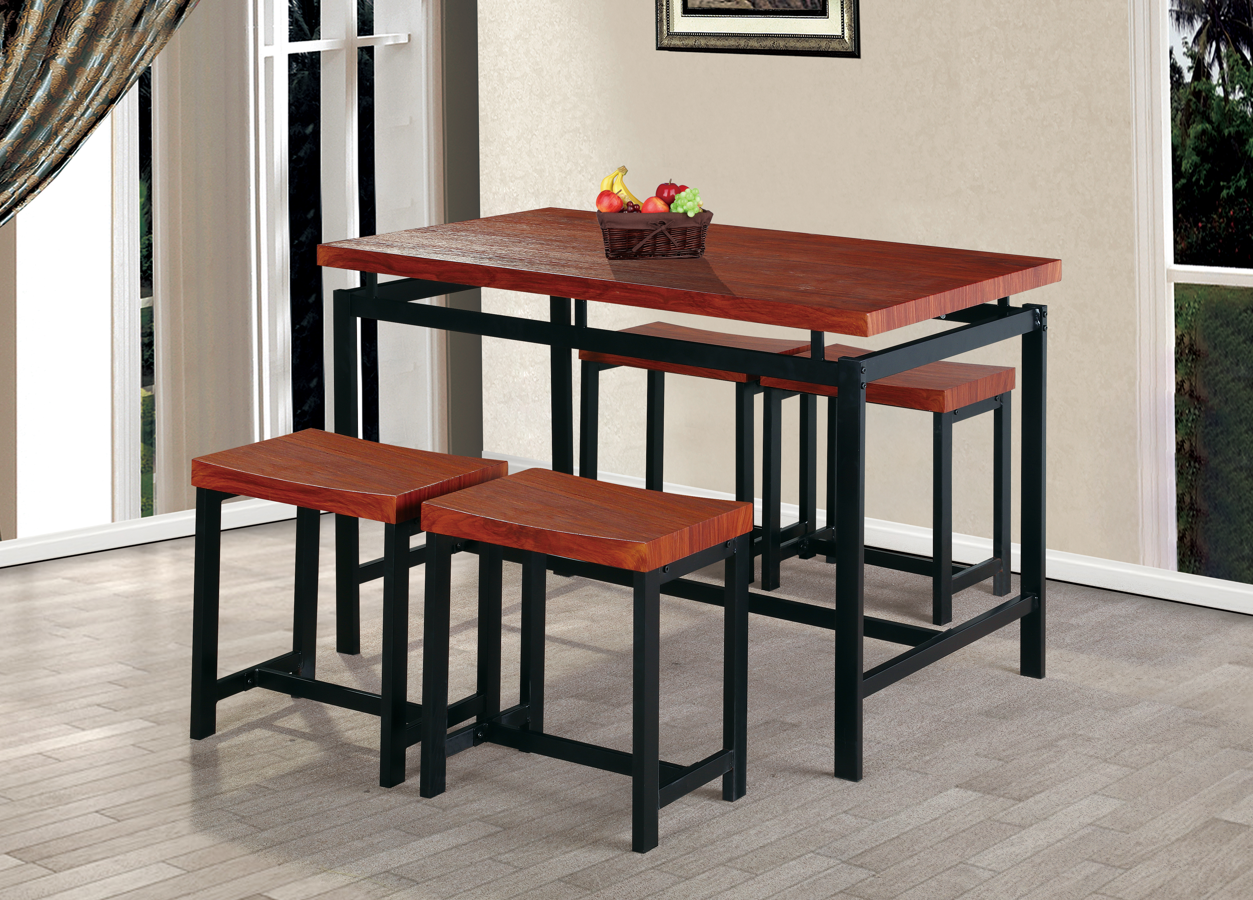 New 5 piece counter height table set indoor outdoor bar tablst
