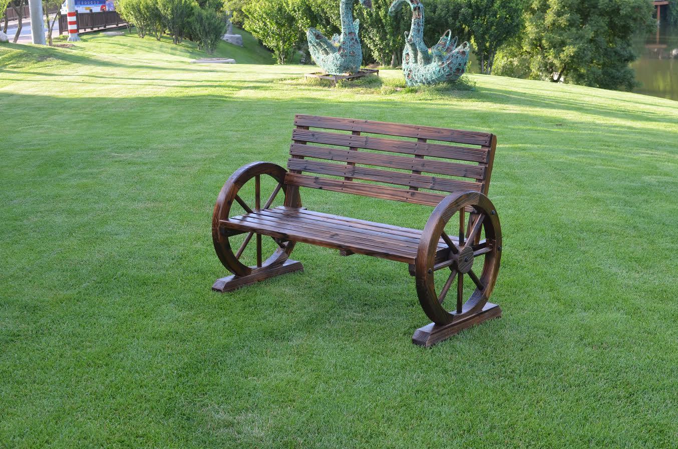New Patio Garden Wooden Wagon Wheel Bench Wgb61 Uncle