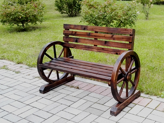 New Patio Garden Wooden Wagon Wheel Bench Wgb61 Uncle