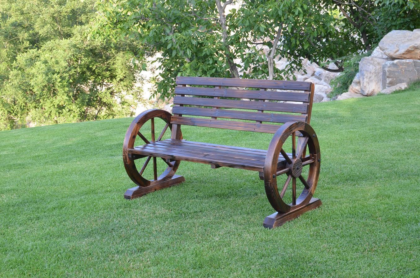 New Large Patio Garden Wooden Wagon Wheel Bench Wgb62