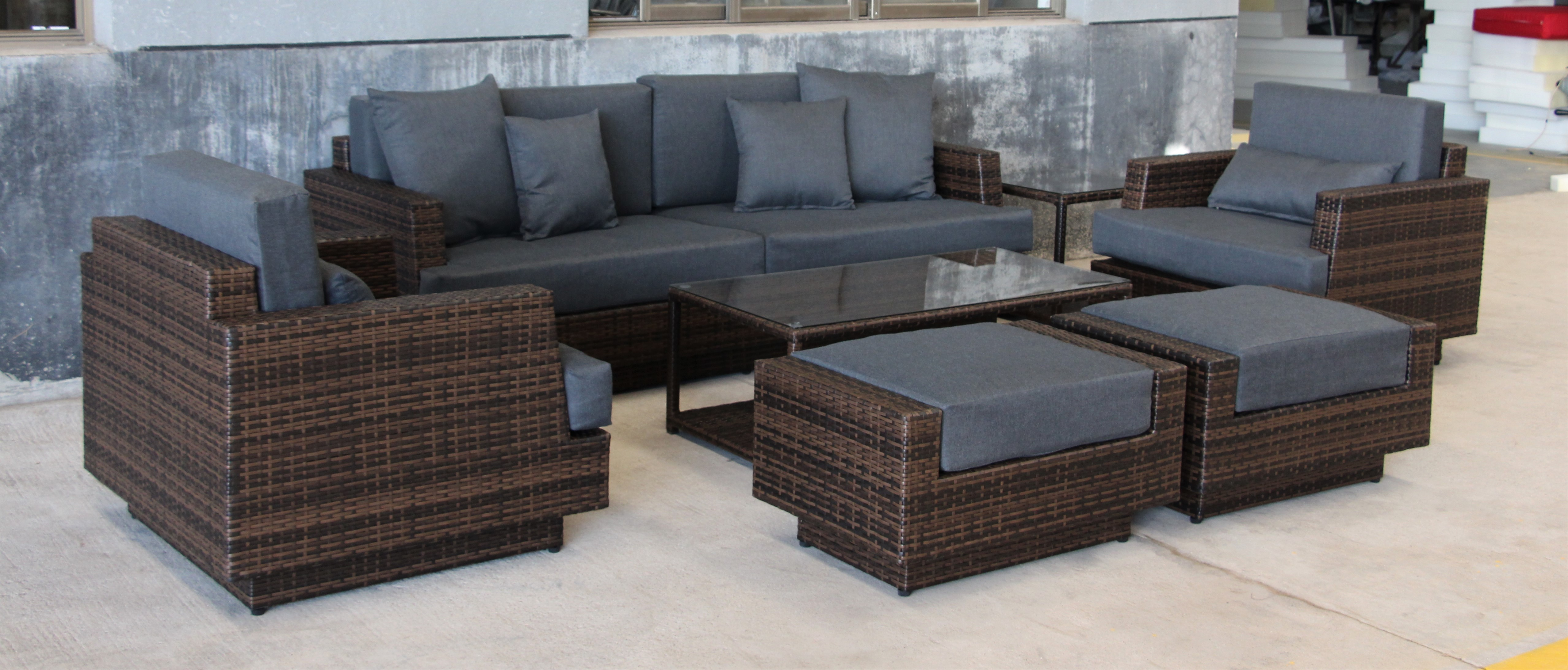 New 7 pcs moonlight outdoor furniture set gray 7pcsfsgry