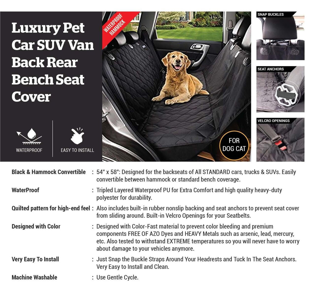 NEW DELUXE PET SEAT COVER TRUCK CAR SUV BLACK PROTECTION COVER PSCB