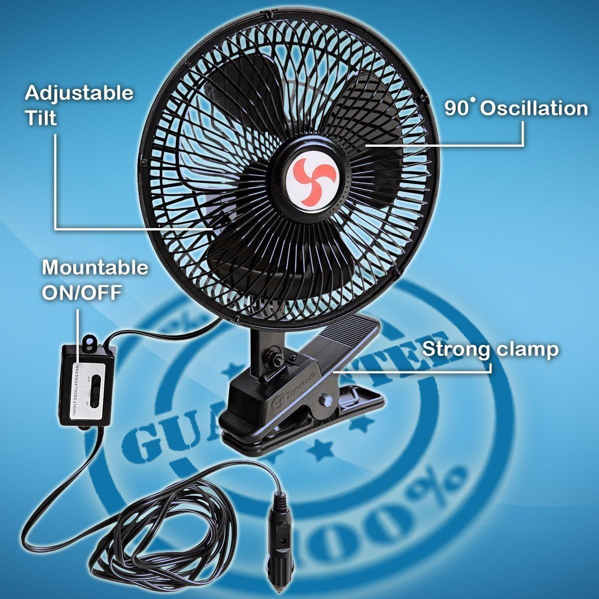 Includes clamp and Screws for Easy Attachment to Either The Console or Dash Zone Tech 12V Oscillating Fan