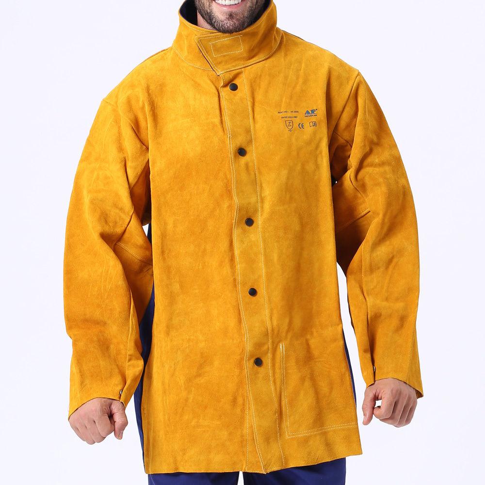 AP-2530 Hybrid Fire Retardant Cotton Welding Jacket w// Cowhide Leather sleeves
