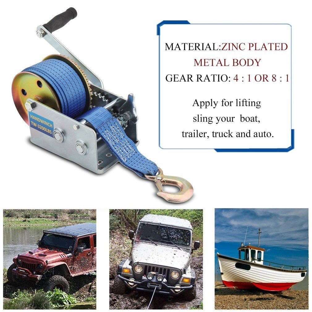 NEW 3200 LBS HAND WINCH 33 FT STRAP WINCH KC3200