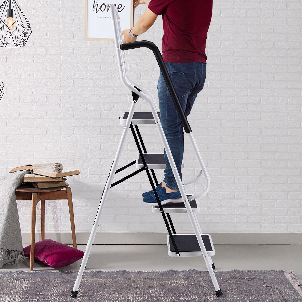New 4 Step Ladder With Hand Rail Amp Tool Pouch Cqx804