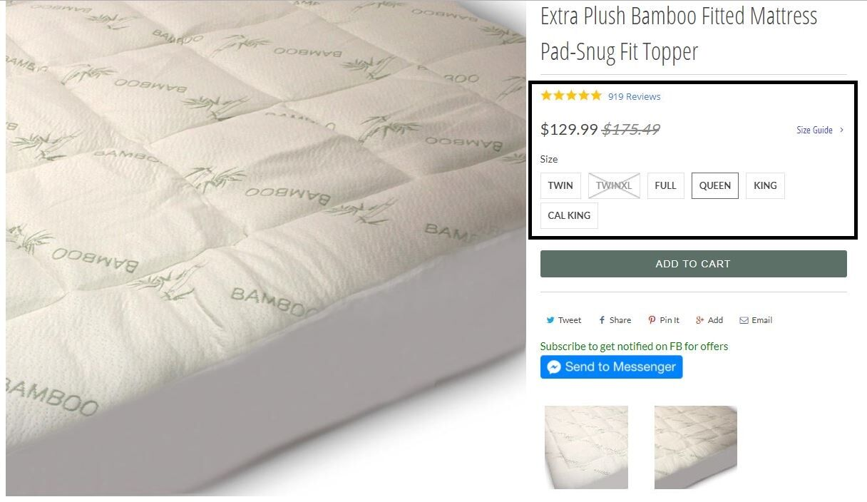 Extra Plush Bamboo Fitted Mattress Pad FREE FROM CHEMICAL OFFGASSING
