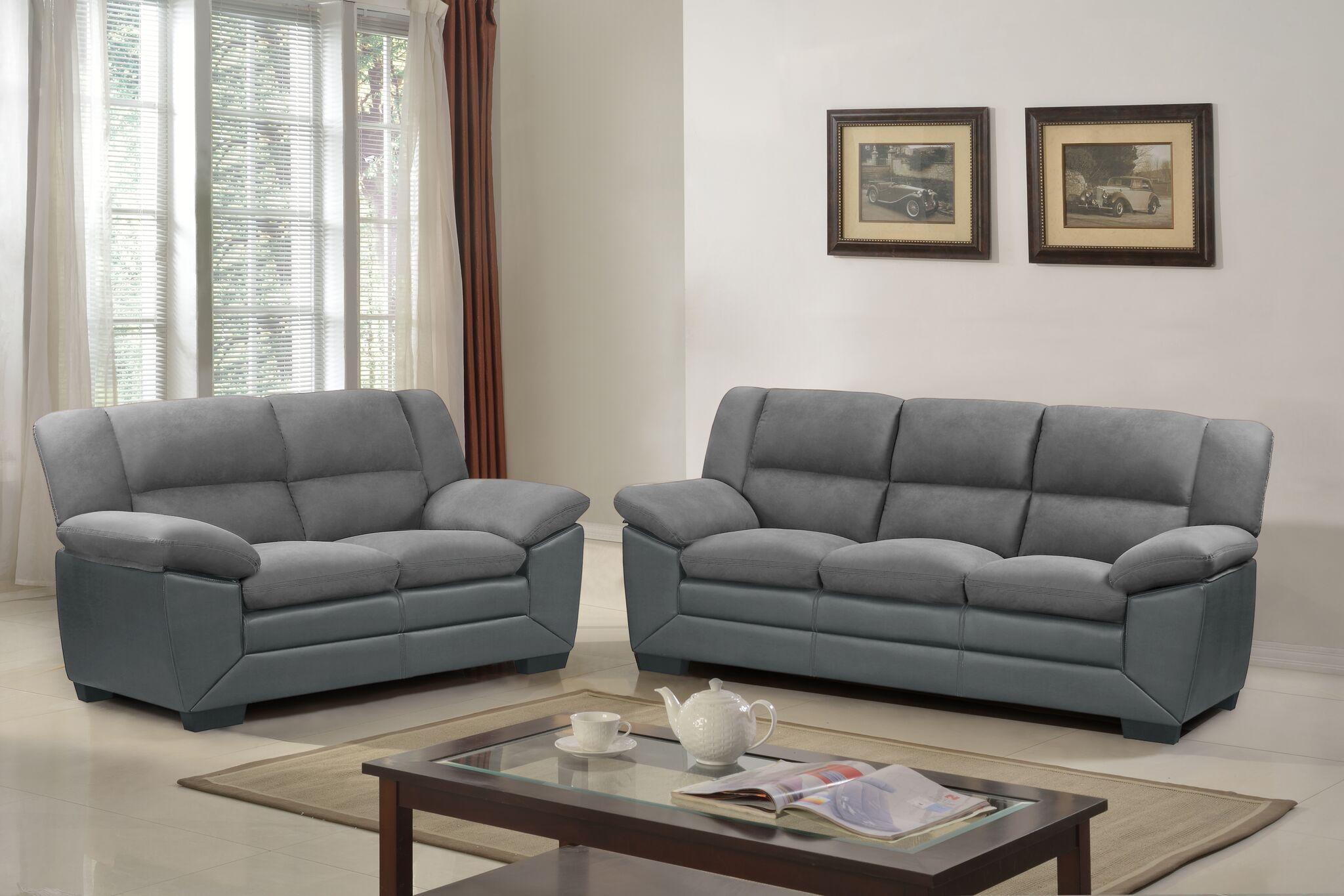 Comfortlands Gray 2 Pcs Microfiber Sofa Set Cfls23g