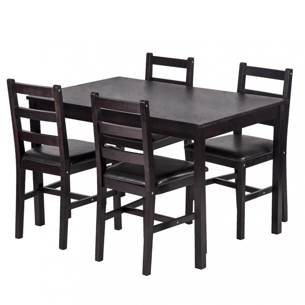 Kitchen Tables Furniture: NEW 5 PCS DINING TABLE SET DARK BROWN 4 CHAIRS & TABLE