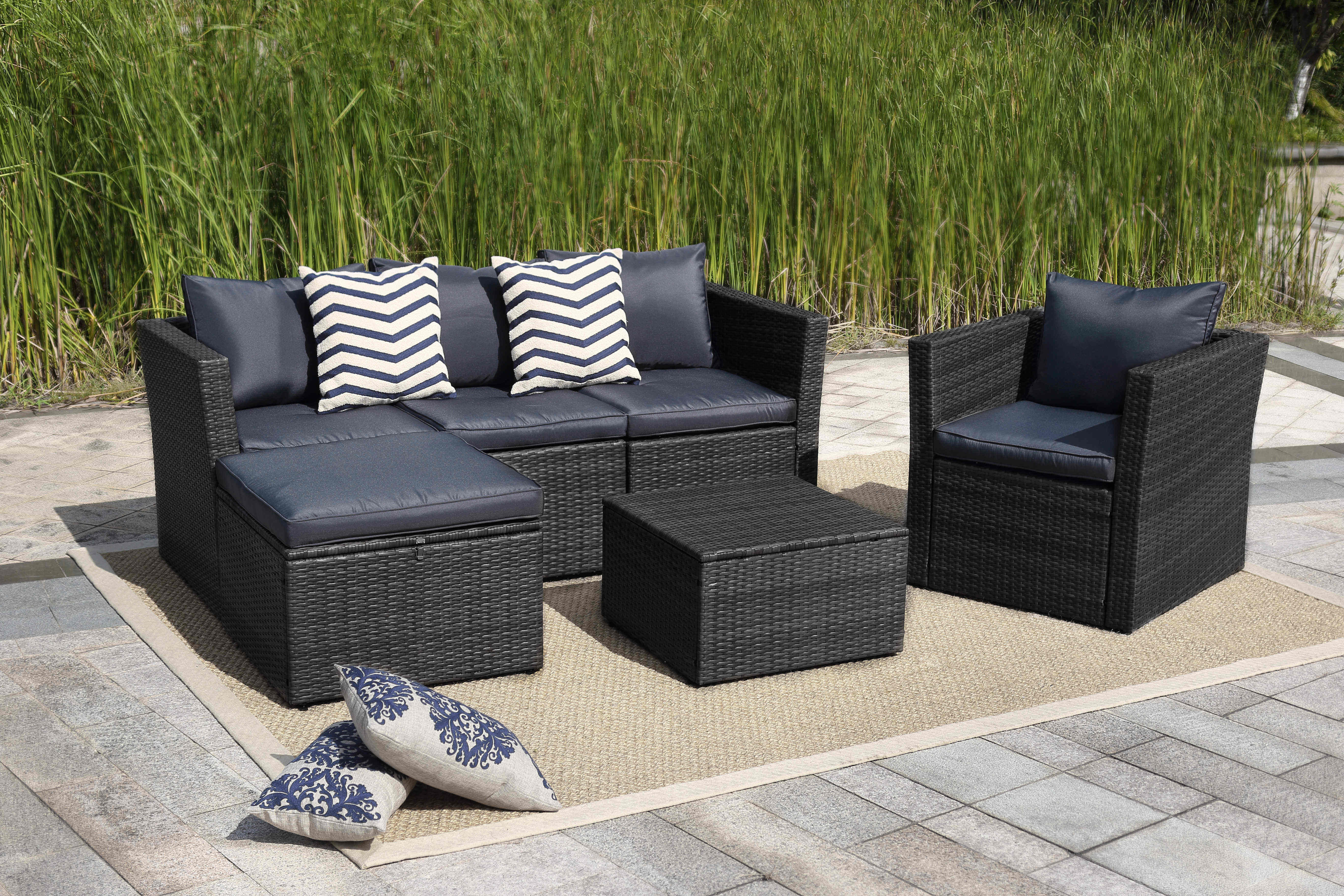 Pleasant New 6 Pcs Outdoor Furniture Set Table Sofa Chair Gray Hb412648 Interior Design Ideas Clesiryabchikinfo