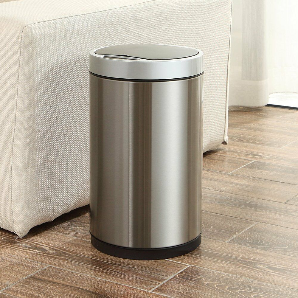 New 9 L Stainless Steel Motion Activated Trash Can Waste