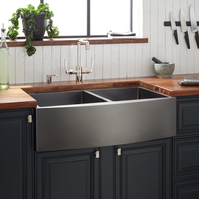 New 33 In Double Bowl Kitchen Sink Farmhouse Apron App3320 Uncle Wiener S Wholesale