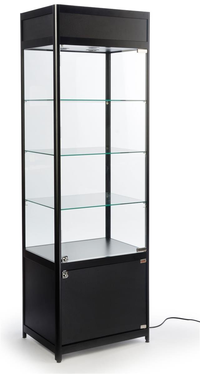 NEW 78 IN GLASS RETAIL DISPLAY CABINET LED CORNER DISPLAY