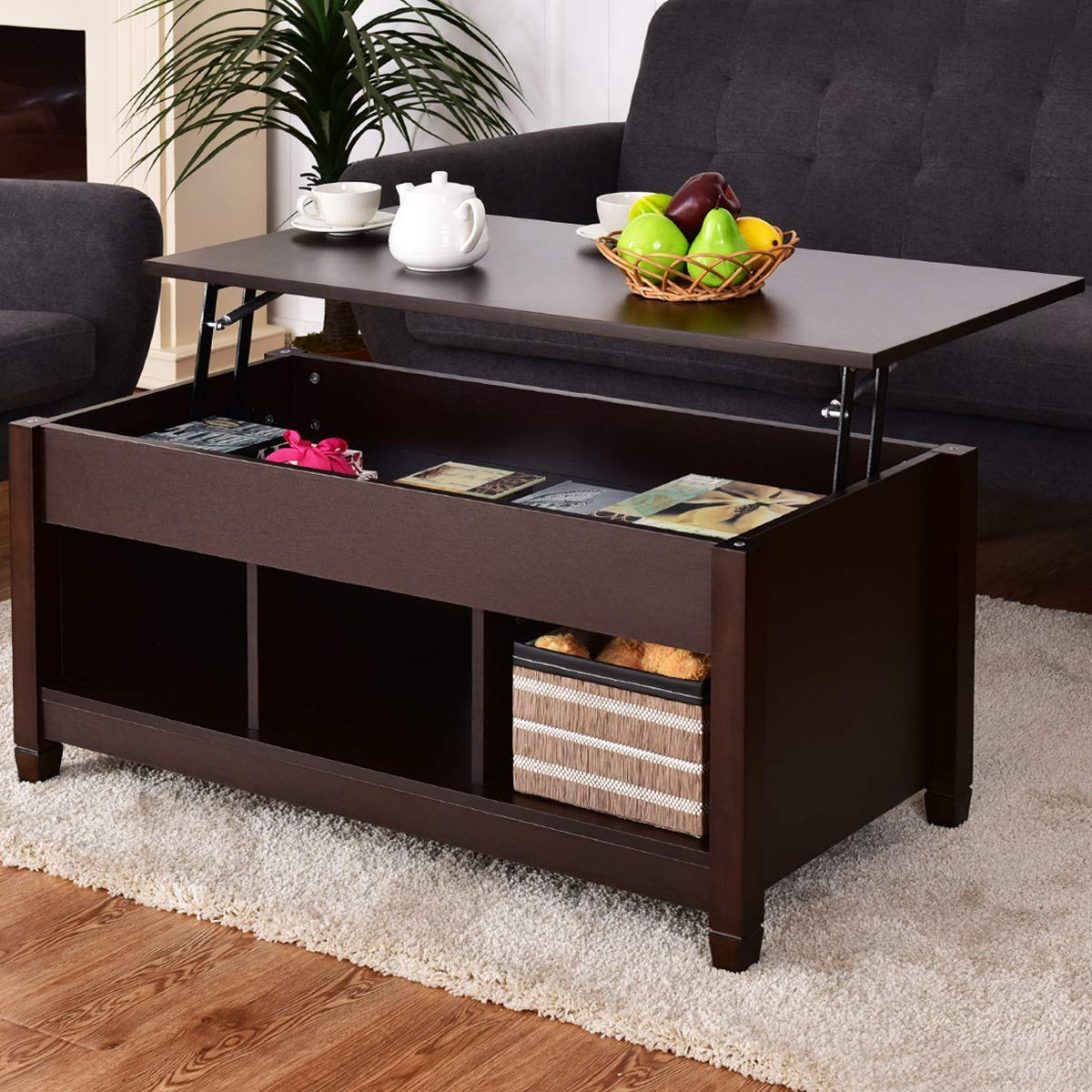 Espresso Coffee Table With Storage: NEW MODERN COFFEE TABLE LIFT TOP END TABLE STORAGE