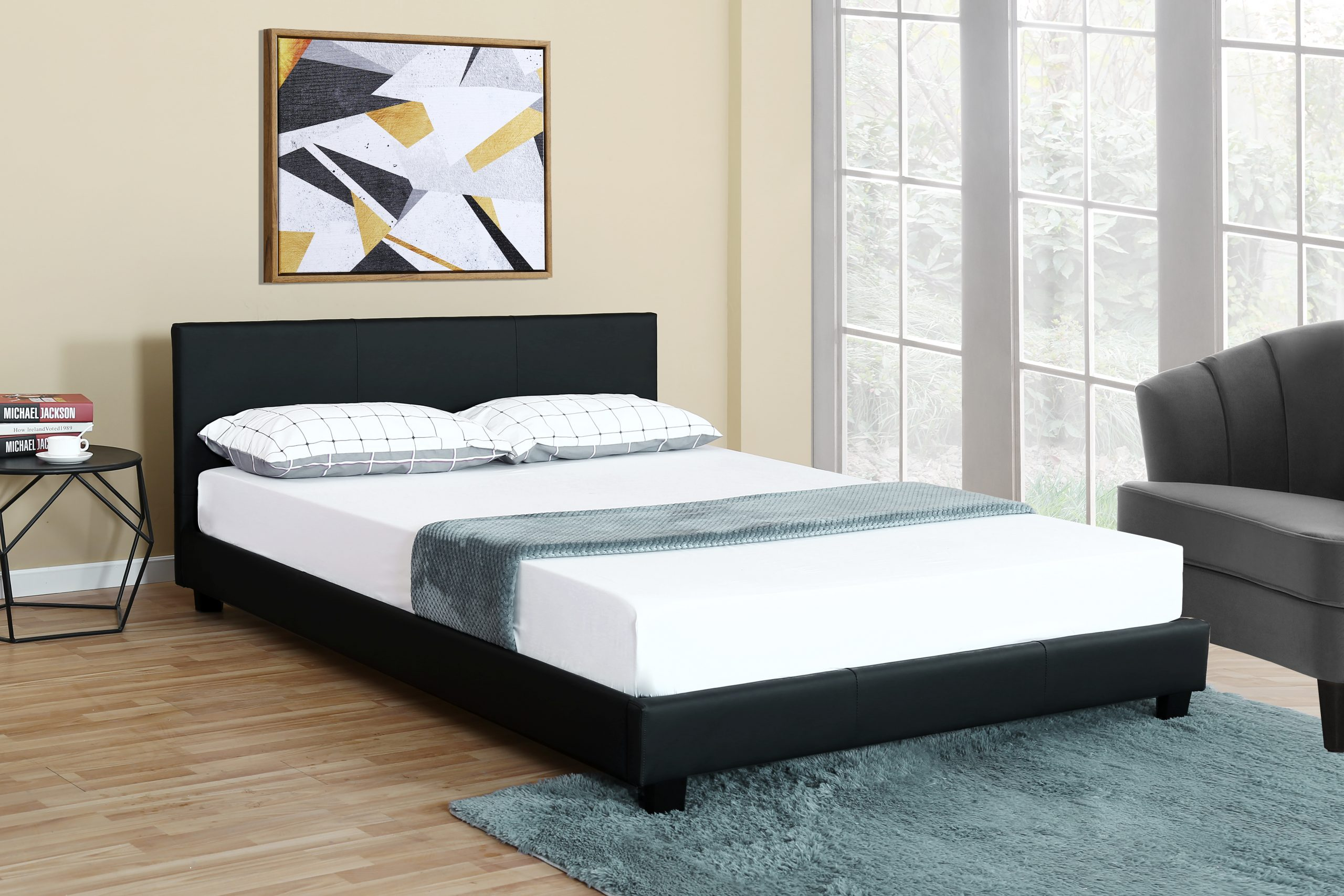 Image of: New Bonded Leather Deluxe Bed Frame Headboard Queen King Twin 1864 Uncle Wiener S Wholesale