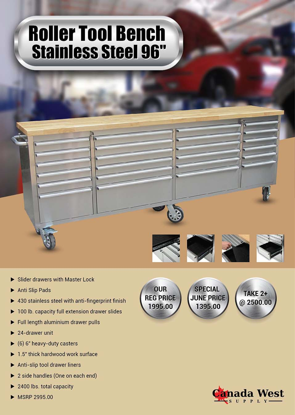24 Drawer 8 Ft 96 Inch Stainless Tool Bench Htc9624w