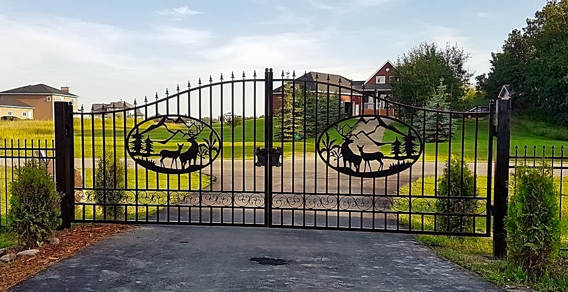 New driveway wrought iron ornamental entrance gate ft