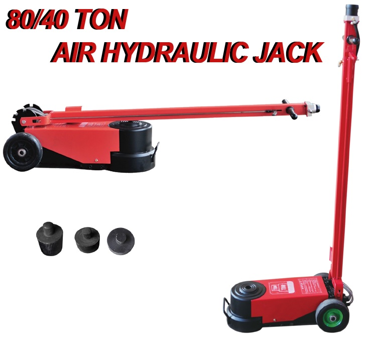 New 80 Ton Air Hydraulic Jack 2 Stage Floor Industrial