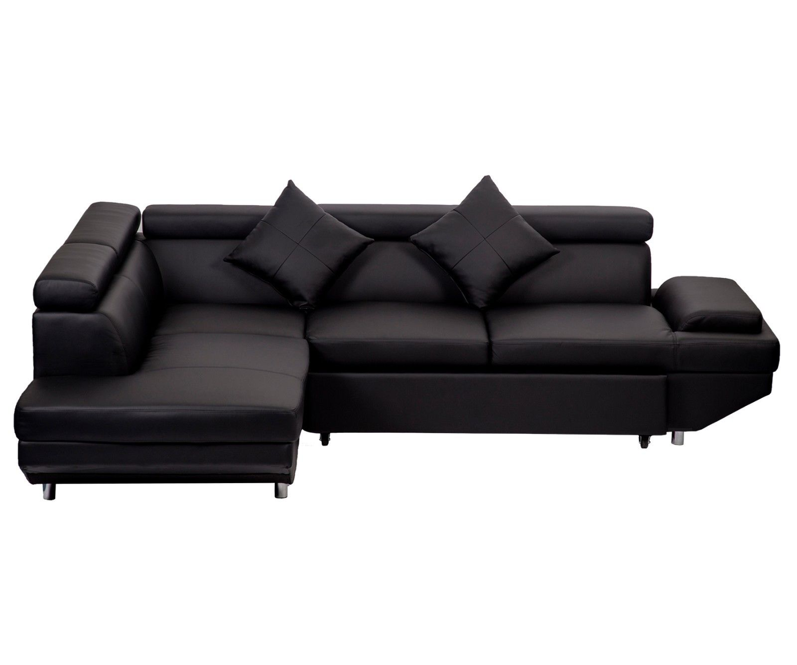 New Modern Contemporary Leather Sectional Corner Sofa Bed