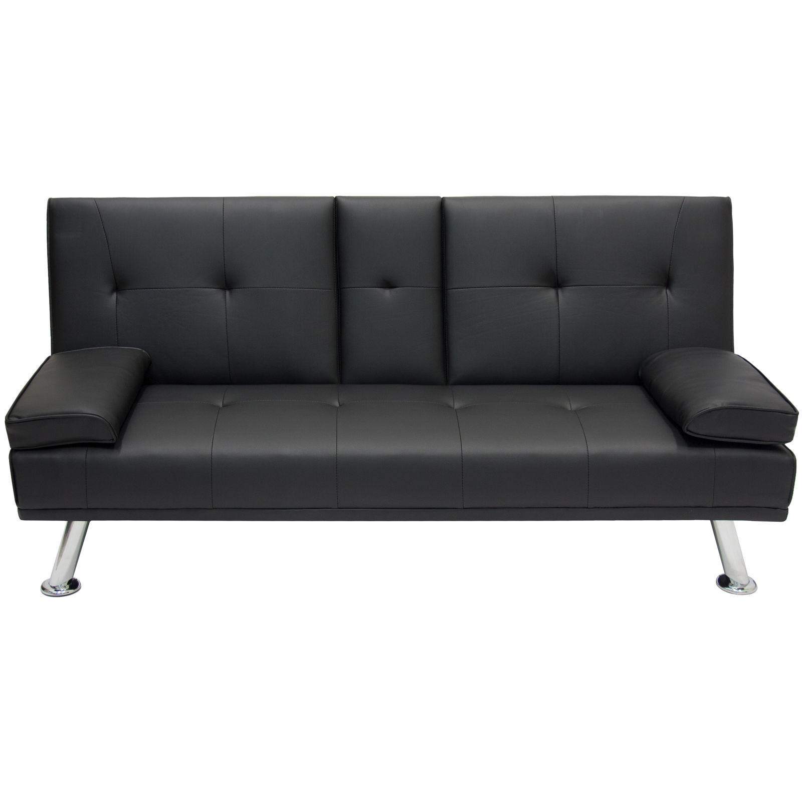 New Deluxe Futon Sofa Bed Couch Cup Holders Sfwf Sfbf As