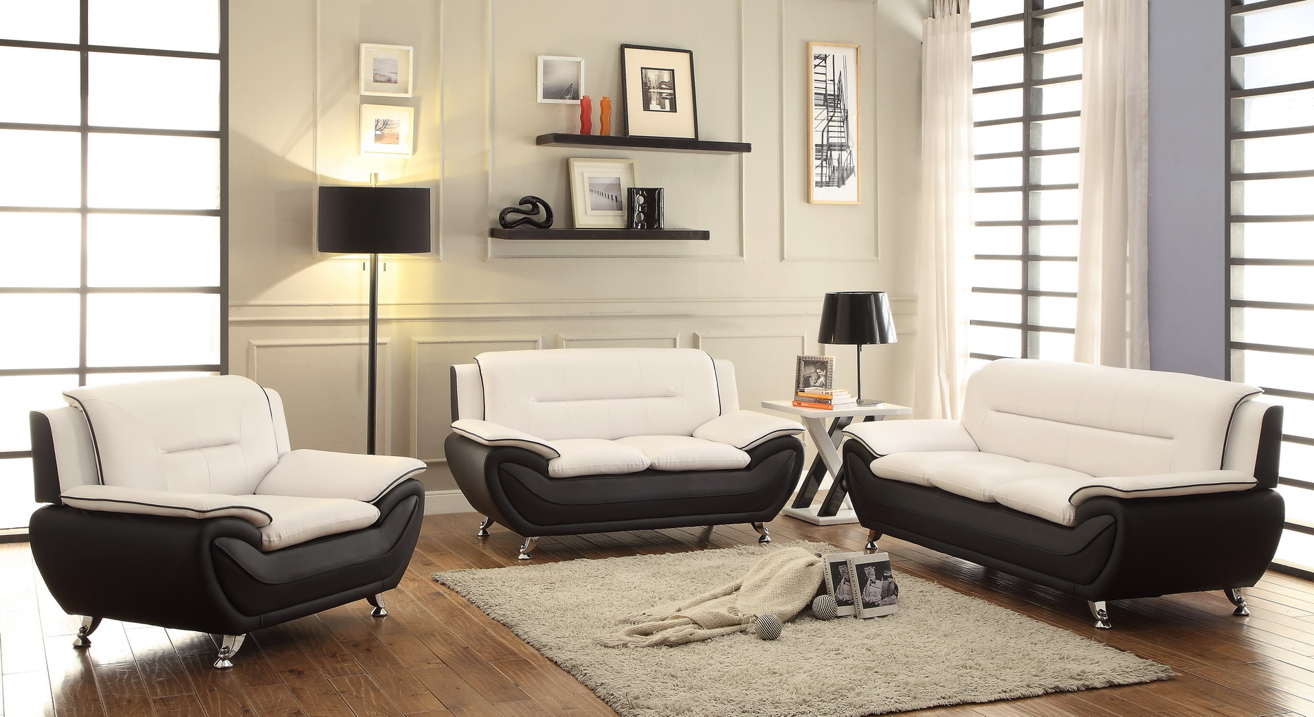 new 3 pcs contemporary bonded leather living room set 78655