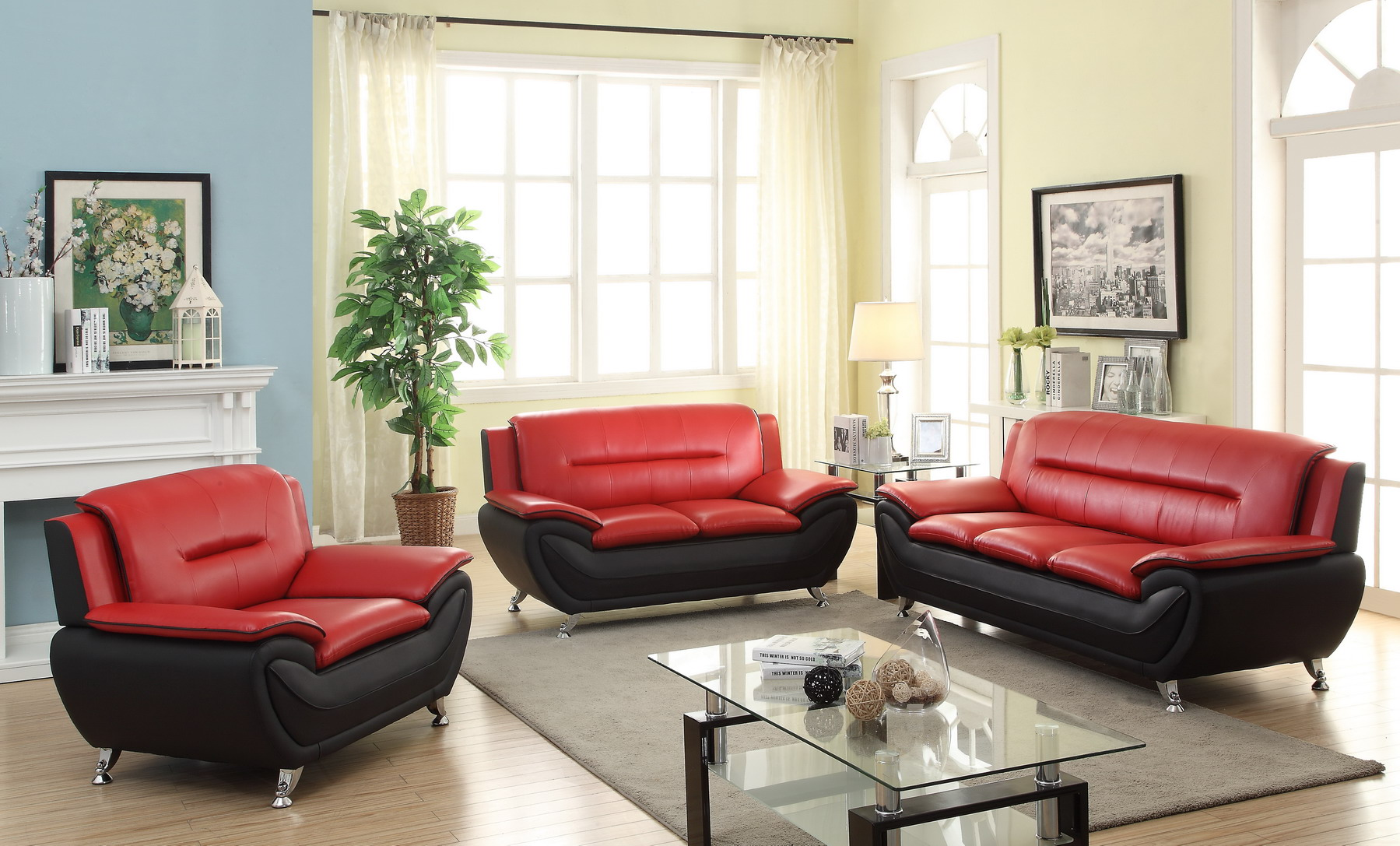 New 3 Pcs Contemporary Bonded Leather Living Room Set