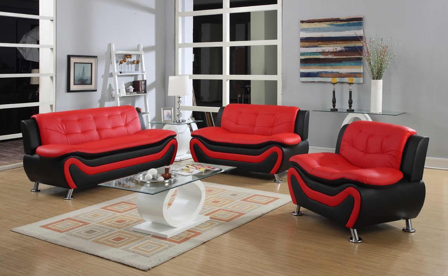 New 3 Pcs Designer Sofa Furniture Set Red Amp Black Sofa Set