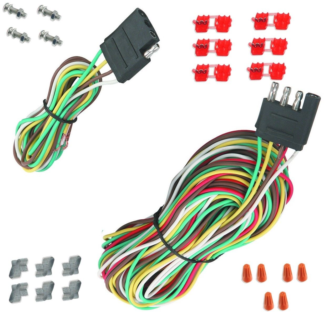 New 25 Ft 4 Way Trailer Wiring Connection Harness Set Rv